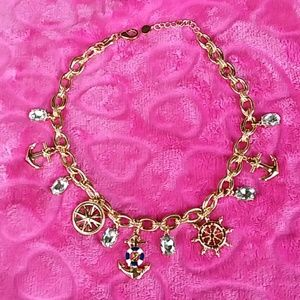 NAUTICAL GOLD NECKLACE WITH 11 CHARMS NWOT